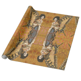 Vintage Winged Geisha Wrapping Paper
