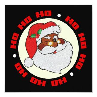 "Vintage Winking Black Santa Pop Art Flat Card 5.25"" Square Invitation Card"