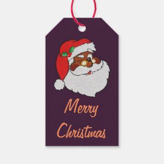 Vintage Winking Black Santa Pop Art Paper Gift Tag