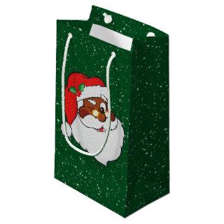 Vintage Winking Black Santa Pop Art Small Gift Bag