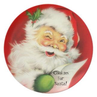 Vintage Winking Jolly Santa Claus Cookies -Plate Dinner Plates