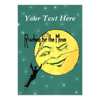 Vintage Winking Moon Man Ladder Reach for Moon Magnetic Invitations