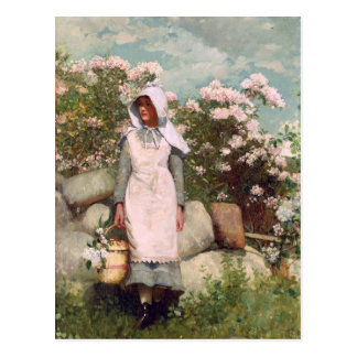 Vintage Winslow Homer Girl and Laurel Postcard
