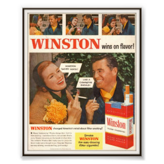 Vintage Winston Cigarette Advertising 1955 Photo Print