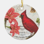 vintage winter cardinal round ceramic ornament