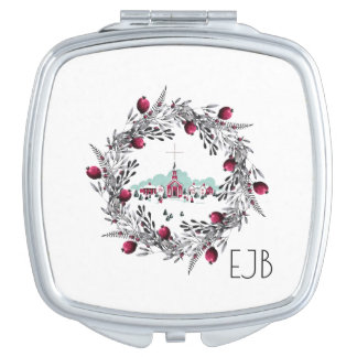 Vintage Winter Church Scene with Christmas Wreath Mirror For Makeup