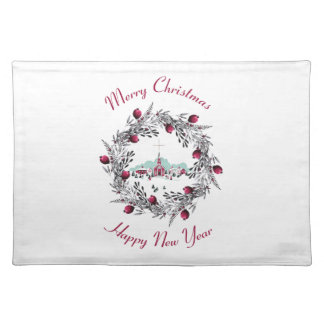 Vintage Winter Church Scene with Christmas Wreath Placemat