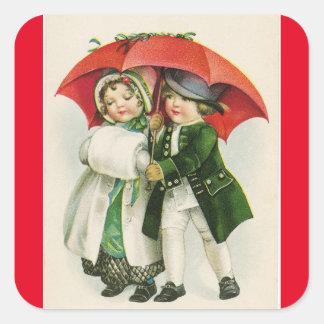 Vintage Winter Couple Square Sticker