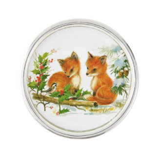 Vintage Winter Foxes Lapel Pin