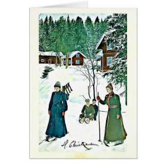 Vintage winter holiday card with Christmas quote