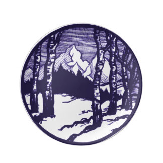 Vintage Winter Mountain Scene Etching Porcelain Plates