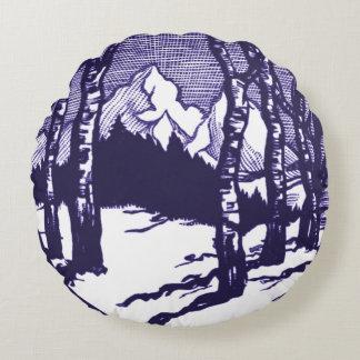 Vintage Winter Mountain Scene Etching Round Pillow