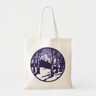 Vintage Winter Mountain Scene Etching Tote Bag