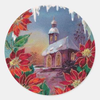Vintage Winter Round Sticker