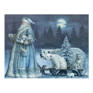 Vintage Winter Santa With Polar Bears Postcard