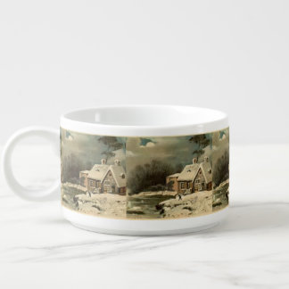 Vintage Winter Scene Chili Bowl
