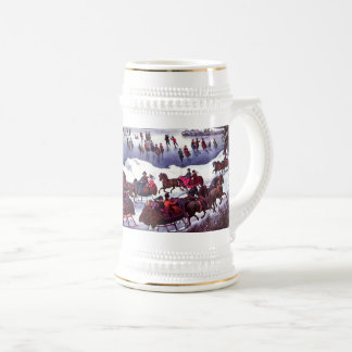 Vintage Winter Scene. Christmas Gift Beer Mugs