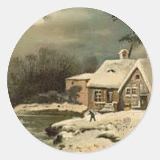 Vintage Winter Scene Classic Round Sticker
