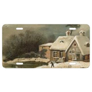 Vintage Winter Scene License Plate