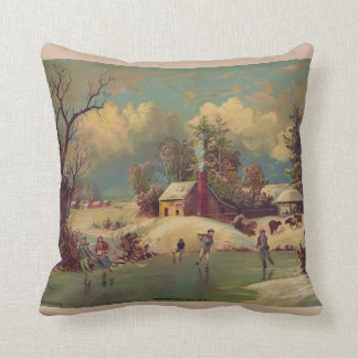 Vintage Winter Scene Pillow