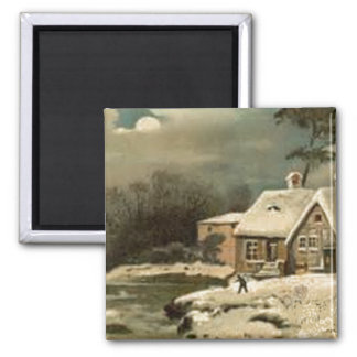 Vintage Winter Scene Square Magnet