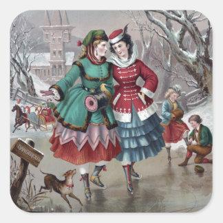 Vintage Winter Skating Scene Square Sticker