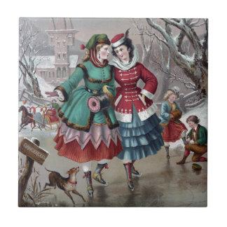 Vintage Winter Skating Scene Tile