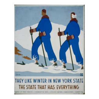 Vintage Winter Sport in New York Poster