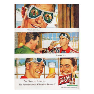 Vintage winter sports, Beer advertisement Postcard