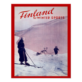 Vintage Winter sports, Finland Poster