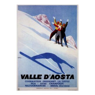 Vintage winter sports Italian Alps travel Poster