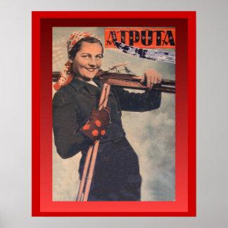 Vintage Winter sports, Latvia, Atputa Poster
