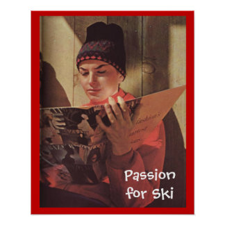 Vintage winter sports Passion for Ski Poster