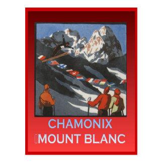 Vintage Winter sports, Ski Chamonix, Mount Blanc Postcard