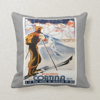 Vintage winter sports,Ski Italy, Cortina d'Ampezzo Throw Pillow