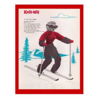 Vintage winter sports, Ski  Knit-wit Post Card