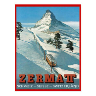 Vintage winter sports, Ski Zermatt, Switzerland Postcard