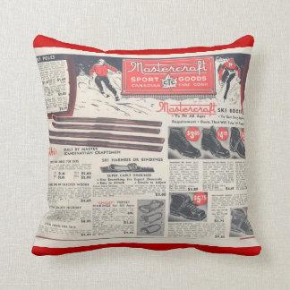 Vintage winter sports, skiwear advertisement throw pillow