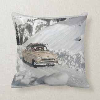 Vintage winter  sports, Trail to the ski resort Throw Pillow