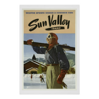 Vintage Winter Sports  Valley Idaho Travel Poster
