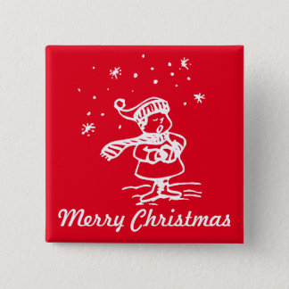 Vintage Winter Wonderland Christmas Carol 2 Inch Square Button