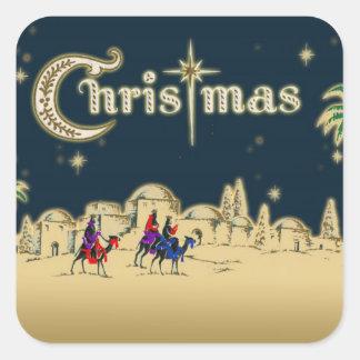 Vintage Wisemen/Desert Religious Christmas Square Sticker