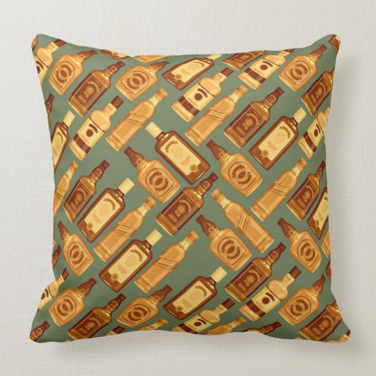 Vintage Wiskey Bottles Throw Pillow
