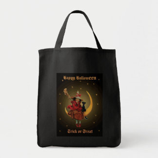 Vintage Witch & Black Cat Sitting on the moon Tote Bag