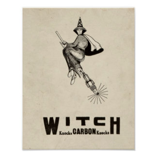 Vintage Witch Hat Broomstick Halloween Funny Poster