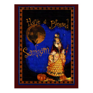 Vintage Witch Samhain Postcard