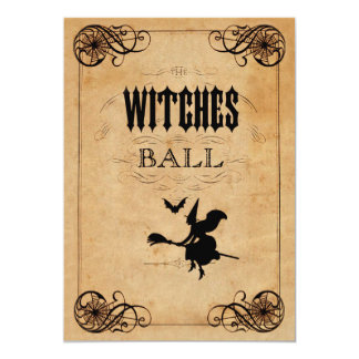 "Vintage Witches Ball 65th Birthday Double Sided 5"" X 7"" Invitation Card"