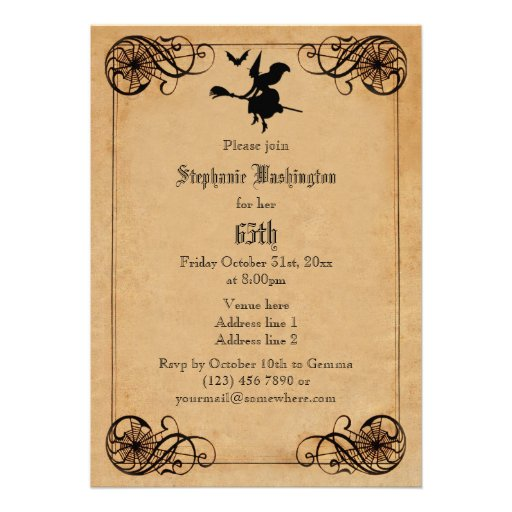 Vintage Witches Ball 65th Birthday Double Sided Card