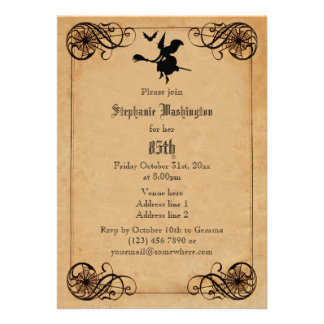 Vintage Witches Ball 85th Birthday Double Sided Custom Invitation