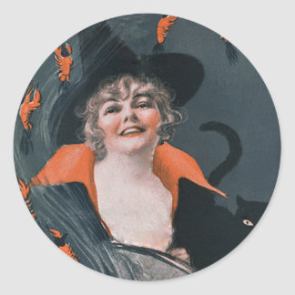 Vintage Witches Brew with Lobsters Classic Round Sticker